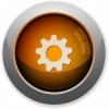 Orange gear button - Orange glossy steel gear button. Arranged layer structure.