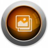 Orange images button - Orange glossy steel images button. Arranged layer structure.