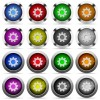 Set of color settings web buttons - Set of 16 round glossy color settings web buttons with shadows. Fully organized layer structure and color swatches. Easy to recolor or make hover effects, etc.