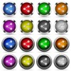 Set of 16 round glossy color share web buttons with shadows. Fully organized layer structure and color swatches. Easy to recolor or make hover effects, etc. - Set of color share web buttons