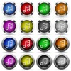 Set of 16 round glossy color music web buttons with shadows. Fully organized layer structure and color swatches. Easy to recolor or make hover effects, etc. - Set of color music web buttons