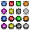 Set of color cart web buttons - Set of 16 round glossy color cart web buttons with shadows. Fully organized layer structure and color swatches. Easy to recolor or make hover effects, etc.