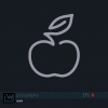 Single line drawn icon of an apple. Flat vector design for logo, bag, t-shirt, web, etc. from the Pictography series. - Apple Icon