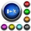 Exit button set - Set of round glossy exit buttons. Arranged layer structure.