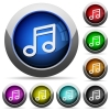 Music button set - Set of round glossy music buttons. Arranged layer structure.