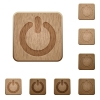 Power of wooden buttons - Set of carved wooden power off buttons. 8 variations included. Arranged layer structure.