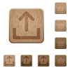 Upload wooden buttons - Set of carved wooden upload buttons. 8 variations included. Arranged layer structure.