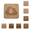 Cloud download wooden buttons - Set of carved wooden cloud download buttons. 8 variations included. Arranged layer structure.