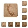 Call wooden buttons - Set of carved wooden call buttons. 8 variations included. Arranged layer structure.