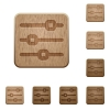 Horizontal adjustment wooden buttons - Set of carved wooden horizontal adjustment buttons. 8 variations included. Arranged layer structure.