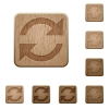 Refresh wooden buttons - Set of carved wooden refresh buttons. 8 variations included. Arranged layer structure.