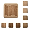 Set of carved wooden map buttons. 8 variations included. Arranged layer structure. - Map wooden button