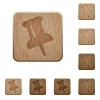 Pin wooden buttons - Set of carved wooden pin buttons. 8 variations included. Arranged layer structure.