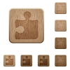 Puzzle wooden buttons - Set of carved wooden puzzle buttons. 8 variations included. Arranged layer structure.