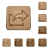 Set of carved wooden export buttons. 8 variations included. Arranged layer structure. - Export wooden buttons