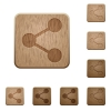 Share wooden buttons - Set of carved wooden share buttons. 8 variations included. Arranged layer structure.