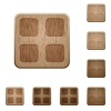 Large thumbnails wooden buttons - Set of carved wooden large thumbnails buttons. 8 variations included. Arranged layer structure.