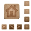 Home wooden buttons - Set of carved wooden home buttons. 8 variations included. Arranged layer structure.