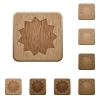 Certificate wooden buttons - Set of carved wooden certificate buttons. 8 variations included. Arranged layer structure.