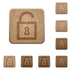 Unlock wooden buttons - Set of carved wooden unlock buttons. 8 variations included. Arranged layer structure.