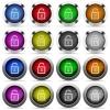 Unlock button set - Set of unlock glossy web buttons. Arranged layer structure.