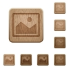 Image wooden buttons - Set of carved wooden image buttons. 8 variations included. Arranged layer structure.