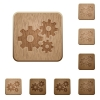 Gears wooden buttons - Set of carved wooden gears buttons. 8 variations included. Arranged layer structure.