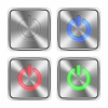 Color power off steel buttons - Color power off icons engraved in glossy steel push buttons. Well organized layer structure, color swatches and graphic styles.