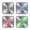 Color refresh icons engraved in glossy steel push buttons. Well organized layer structure, color swatches and graphic styles. - Color refresh steel buttons