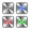 Color mail steel buttons - Color mail icons engraved in glossy steel push buttons. Well organized layer structure, color swatches and graphic styles.