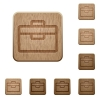 Toolbox wooden buttons - Set of carved wooden toolbox buttons. 8 variations included. Arranged layer structure.