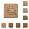 Web search wooden buttons - Set of carved wooden web search buttons. 8 variations included. Arranged layer structure.