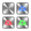 Color cloud upload steel buttons - Color cloud upload icons engraved in glossy steel push buttons. Well organized layer structure, color swatches and graphic styles.