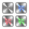 Color cart steel buttons - Color cart icons engraved in glossy steel push buttons. Well organized layer structure, color swatches and graphic styles.
