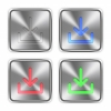 Color download steel buttons - Color download icons engraved in glossy steel push buttons. Well organized layer structure, color swatches and graphic styles.