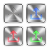 Color upload steel buttons - Color upload icons engraved in glossy steel push buttons. Well organized layer structure, color swatches and graphic styles.