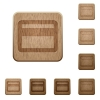 Set of carved wooden credit card buttons. 8 variations included. Arranged layer structure. - Credit card wooden buttons