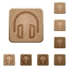 Headset wooden buttons - Set of carved wooden headset buttons. 8 variations included. Arranged layer structure.