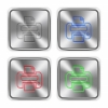 Color print steel buttons - Color print icons engraved in glossy steel push buttons. Well organized layer structure, color swatches and graphic styles.