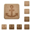 Set of carved wooden anchor buttons. 8 variations included. Arranged layer structure. - Anchor wooden buttons
