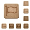 Flag wooden buttons - Set of carved wooden flag buttons. 8 variations included. Arranged layer structure.