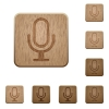 Microphone wooden buttons - Set of carved wooden microphone buttons. 8 variations included. Arranged layer structure.