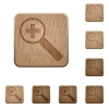 Zoom in wooden buttons - Set of carved wooden zoom in buttons. 8 variations included. Arranged layer structure.