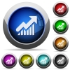 Graph button set - Set of round glossy graph buttons. Arranged layer structure.