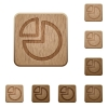 Pie chart wooden buttons - Set of carved wooden pie chart buttons. 8 variations included. Arranged layer structure.