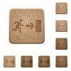 Exit wooden buttons - Set of carved wooden exit buttons. 8 variations included. Arranged layer structure.