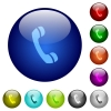 Color call glass buttons - Set of color call glass web buttons. Arranged layer structure.