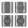 Metal Power off buttons - Set of Power off buttons vector in brushed metal style. Arranged layer, color and graphic style structure.