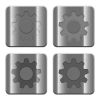 Metal Settings buttons - Set of Settings buttons vector in brushed metal style. Arranged layer, color and graphic style structure.
