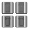 Metal Trash buttons - Set of trash buttons vector in brushed metal style. Arranged layer, color and graphic style structure.